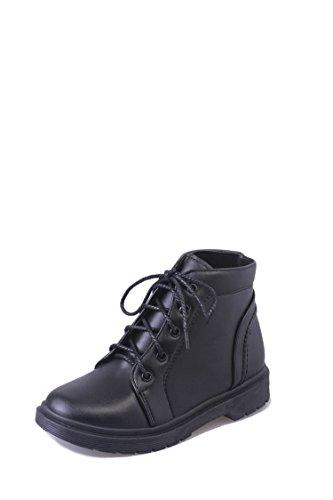 Frauen rauhe Ferse kurze Stiefel Winter niedrigem Absatz mittleren Zylinder, schwarz, 36 (Schwarze Niedrigen Ferse Stiefel)
