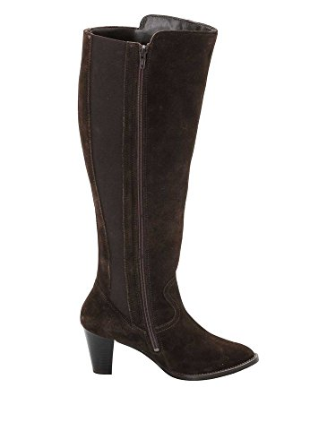 sheego Femmes Bottes mollet large cuir véritable marron foncé