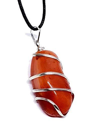 Eclectic Shop UK Rot Karneol Edelstein Anhänger Wäschetrockner Stein Draht Umwickelt Schnur Halskette Reiki Charged -