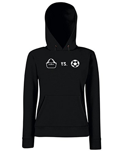 T-Shirtshock - Sweats a capuche Femme WC1189 Shopping Versus Football Maglietta Noir