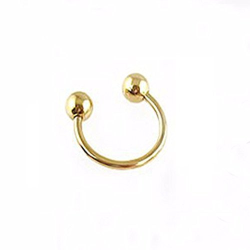 Chandrika Pearls Gems & Jewellers 316L Stainless Steel Press On Unisex Nose Ring - No Piercing (Gold)  available at amazon for Rs.114