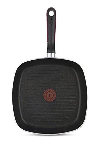 Tefal Comfort Grip - Grill de Aluminio DE 26 x 26 cm con Exterior Negro esmaltado, Antiadherente con Extra de Titanio, para Todo Tipo de cocinas (Excepto Inducción)