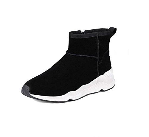 YYH Vera pelle donna neve stivali manica piatto fondo scarpe Plus breve cotone velluto Stivali , black , 39