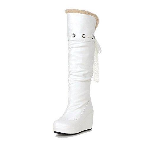 AllhqFashion Damen Rein Hoher Absatz Rund Zehe Ziehen Auf Stiefel mit Lesbie Weiß