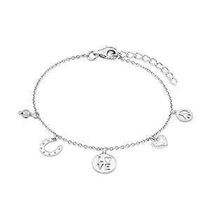 s.Oliver Kinder-Armband Girls Glücksanhänger 925 Silber rhodiniert Glas grau Rundschliff – 541633