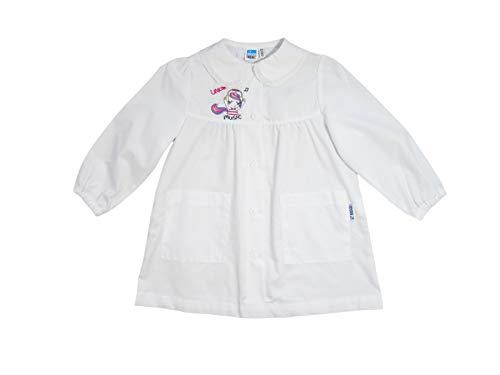 Siggi grembiule bimba bianco asilo 2/5 anni con ricamo, con polsini e tasche - 3249 (3 anni - 98 cm)