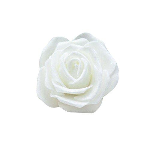 50x Foamrosen Schaumrosen Schaumköpfe Künstliche Blume Brautstrauß Party Hause Dekor Rosen Rosenköpfe - Weiss