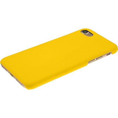 PhoneNatic Case für Apple iPhone 7 Hülle rot gummiert Hard-case für iPhone 7 + 2 Schutzfolien Gelb