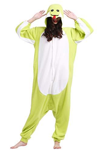 Unisex Kigurumi Jumpsuit Tier Pyjamas Kostüm Fasching Onesie Damen Herren Karneval Cosplay Nachtwäsche, Grün Schlange