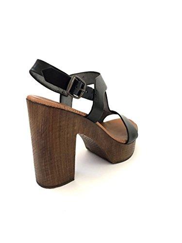 Sandali donna in pelle taco alto zoccoli cuoio nero zeta shoes MainApps Nero