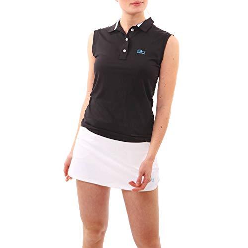 Sportkind Mädchen & Damen Tennis, Golf, Sport ärmelloses Poloshirt, schwarz, Gr. M