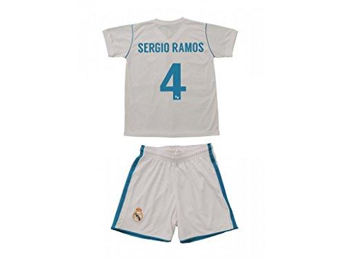 Equipación Sergio Ramos. Réplica Oficial de la Primera Equipación del Real Madrid Temporada 2017-2018. - Talla 10, Primera equipación