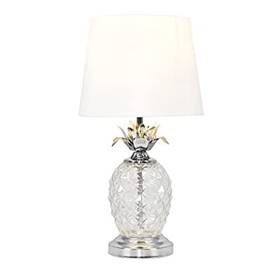Modern Chrome & Clear Glass Pineapple Touch Table Lamp with a Shade from MiniSun