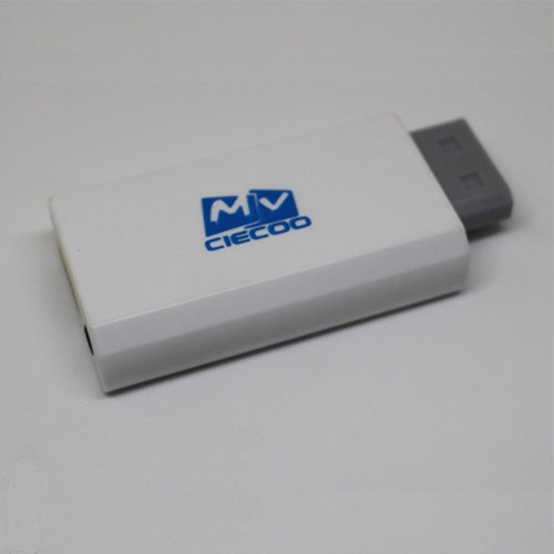 Ciecoo Weiß Full HD 480P / 720P / 1080P Ausgang Upscaling 3,5 mm Audio Videoausgang für Wii zu HDMI Wii2HDMI Adapter Konverter unterstützt alle Wii-Display-Modi (Gamecube-zu-hdmi-anschluss)