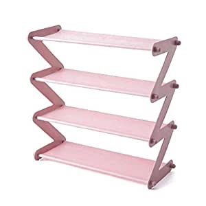 Smart Saver 4 Tier Shoe Rack, Stackable Multi-Layer Shoe Organizer Shelf for Living Room, Entryway, Hallway and Cloakroom-Pink