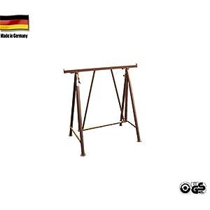'Plegable Andamio caballete COMPAKT S 1200, color marrón lacado, altura regulable 1,5T, resistencia 1de 1,75m Stand Altura