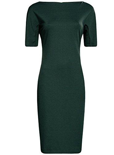 oodji Collection Femme Robe à Col Bateau Vert (6900N)