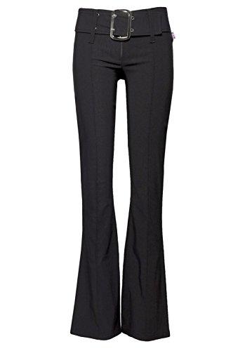 Nuevos pantalones elegantes de campana para mujer negro negro 6