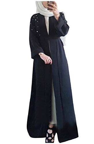CuteRose Women's Pearl Beaded Long Maxi Middle East Muslim Eid Abaya Dress Black S