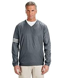 Adidas Golf Mens Climalite Colorblock V-Neck Wind Shirt - Lead/Black - L A147