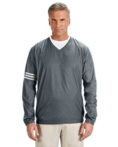 147 Männer adidas ClimaLite Farbe Block V-Ausschnitt Windshirt - Leitung & Schwarz, Groß (Golf Climalite)