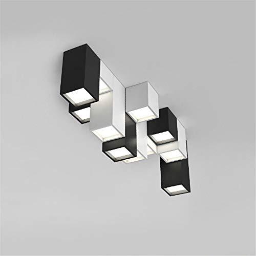 xiadsk Licht, Lampe, Laterne Moderne Kurze Acryl kreative Kombination aus geometrischen LED-Deckenleuchte Home Deco DIY benutzerdefinierte quadratische Deckenleuchte, schwarz, H 15CM-Stil -