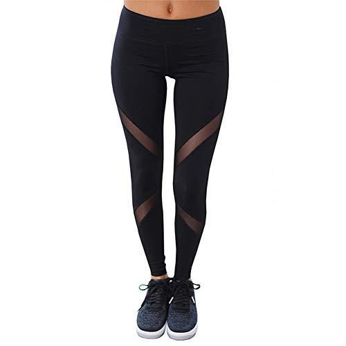 AMUMUMUD Polainas de Mujer Diseño de Malla de inserción gótica Pantalones Pantalones Tamaño Grande Negro Ropa Deportiva de Capris Leggings de Fitness, M