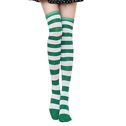 Amayay Ringelsocken Zebra Stripey Tages Strumpf Hohe Overknees Gestreifter Oberschenkel Regenbogen Einfacher Stil Elastisch Knie Socken Elegante Fashion (Color : #2, Size : One Size)