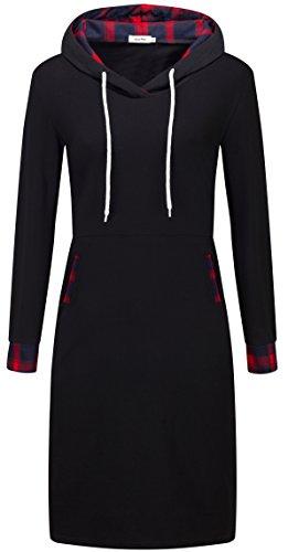 KorMei -  Vestito  - Tunica - Maniche lunghe  - Donna nero&rosso