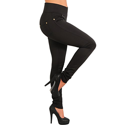 Thermo Stretch Hose breiter Bund Gold Nieten Jeggings Treggings Leggings Röhre 17141 (M 38, Schwarz) (Breiter Bund)