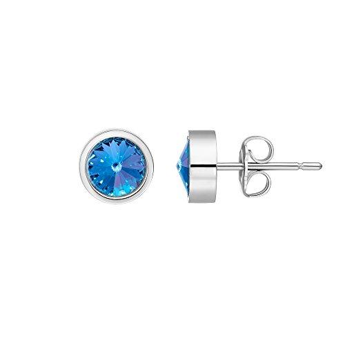 Heideman Ohrringe Damen Coma aus Edelstahl silber farbend poliert Ohrstecker für Frauen mit Swarovski Stein Kristall saphir hell blau im Fantasie Edelsteinschliff 6mm (Blau 6mm Saphir)