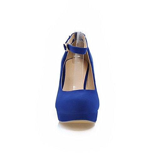BalaMasa massiccio, da donna, con fibbia, altezza tacco Imitated pompe-Scarpe da uomo in pelle scamosciata Blue