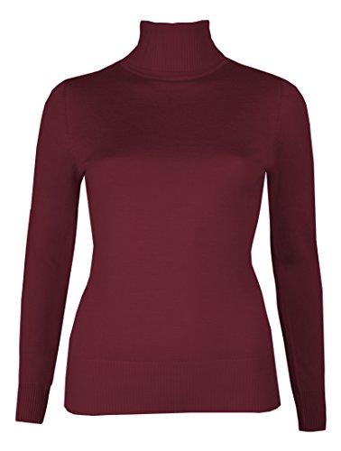 Brody & Co. - Maglioncino a collo alto, da donna, finemente cucito a maglia, maglione invernale, a tinta unita Burgundy