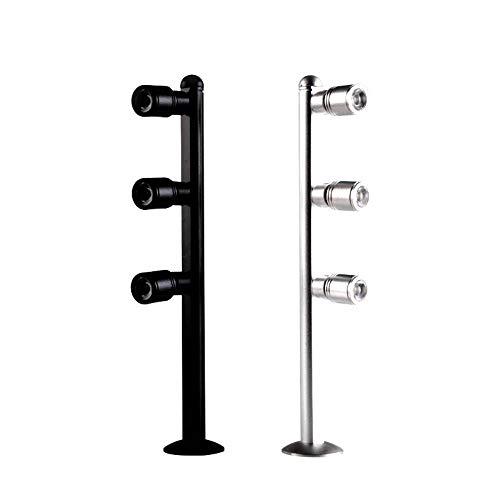 Cwill 12V Eingang 3W / 4W LED Strahler 4pcs Schreibtisch Ständer Pole Post Lampe Spot Licht Schmuck Telefon Shop Showcase Display Licht Silber schwarz, Silber 3W, Warmweiß