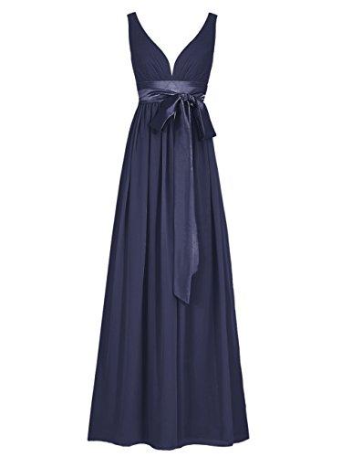 Dresstells Robe de cérémonie Robe de soirée col en V sans manches dos nu longueur ras du sol Marine