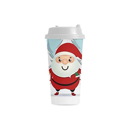 ückliche Sankt Gewohnheit personalisierter Druck 16 Unze doppelwandiger Plastikisolierte Sport Wasser Flaschen Schalen Pendler Reise Kaffeetassen für Studenten Frauen Milch ()