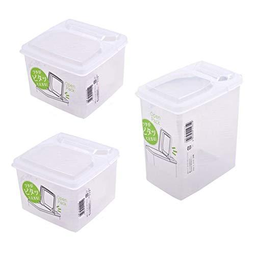NAKAYA 3Pack rechteckige Essen Transparente Vorratsbehälter, Getreide-Dispenser, Deckel halb Offene Funktion / 2P - 1,3 L (44oz), 1 P - 1,7 L (57oz)