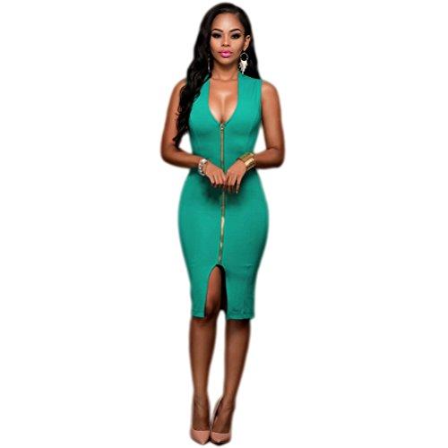 Femmes Sexy V-cou sans manches Zipper de Split Elasticité Package Hip Clubwear Robe Vert
