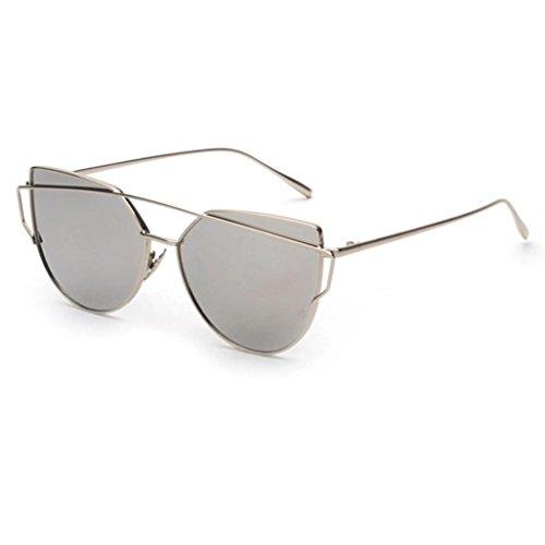LSAltd Frauen Klassische Gläser Frauen Cat Eye Metallrahmen Spiegel Sonnenbrille Lässige Brille (Silber)