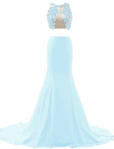 JAEDEN Donna Applicazione Due parti Abiti da sera Lungo Chiffon Sirena Strascico Abiti da ballo Vestito da festa Cielo blu