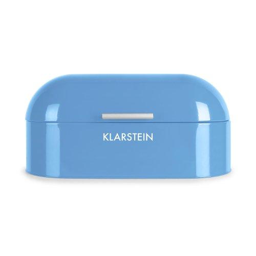 Klappbarer Holz-box (Klarstein Focaccia Paloma • Brotkasten • Brotbox • pulverbeschichtetes Metallgehäuse • klappbarer Deckel • 11,5 Liter • leichte Befüllung • Aluminiumgriff • große Innenfläche • leicht zu reinigen • abgerundete Form • Retro-Look • Metallscharniere • blau)
