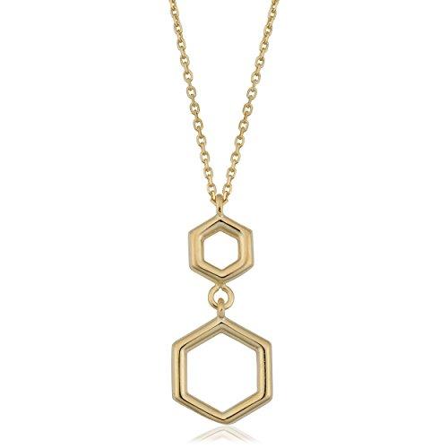 10K Gelb Gold Double Sechseck Geometrische Anhänger Halskette, 45,7cm