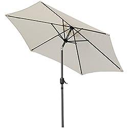 Angel Living 270cm Rond Aluminium Parasol inclinable Parasol de jardin, Empêche de La Lumière Solaire Directe et Anti-ultraviolet (Crème)