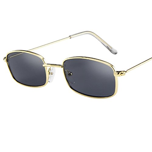 Holeider 2018 Neue Sonnenbrille Herren Damen Schwarz, Vintage Brille Frauen Mann Square Shades Kleine rechteckige Sonnenbrille Rahmen (E)