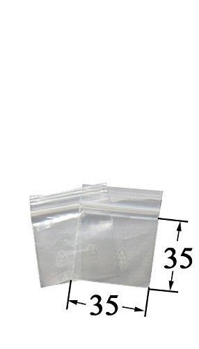 Weedness 100 x Baggys Zip Beutel 3,5 mal 3,5 cm - Schnellverschluss Tütchen Druckverschluss Plastikbeutel Transparent Lebensmittelfreundlich