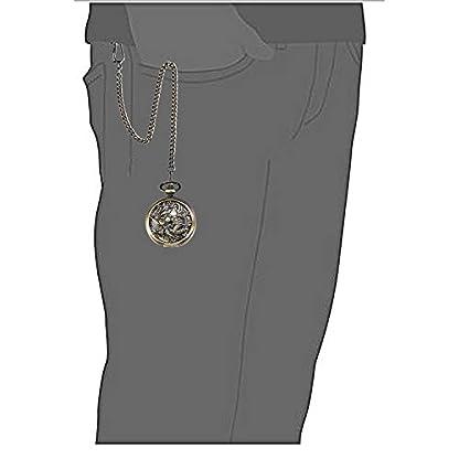 TREEWETO-Herren-Taschenuhr-mit-Kette-Analog-Handaufzug-Antik-Drache-Phnix-Skelett-Bronze