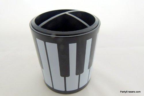 FunMusic noir et blanc touches de piano Stylos Porte-crayons avec 3 compartiments
