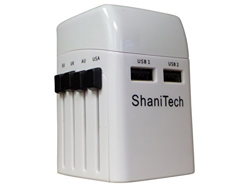 ShaniTech st99.0119weltweit Reise Adapter mit Dual USB-Anschlüsse Sicherheit verschweißt weiß Blackberry Converter
