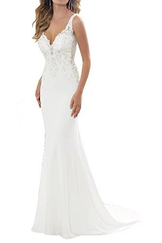 Milano Bride 2017 Neu Elegant Traegerkleider Hochzeitskleider brautkleider fuer Beach Hochzeits Chiffon Spitze-34-Elfenbein