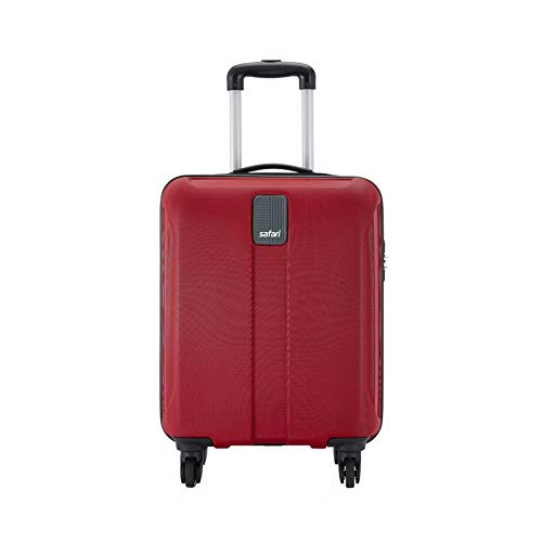 Safari Thorium Sharp Antiscratch 55 Cms Polycarbonate Red Cabin 4 wheels Hard Suitcase